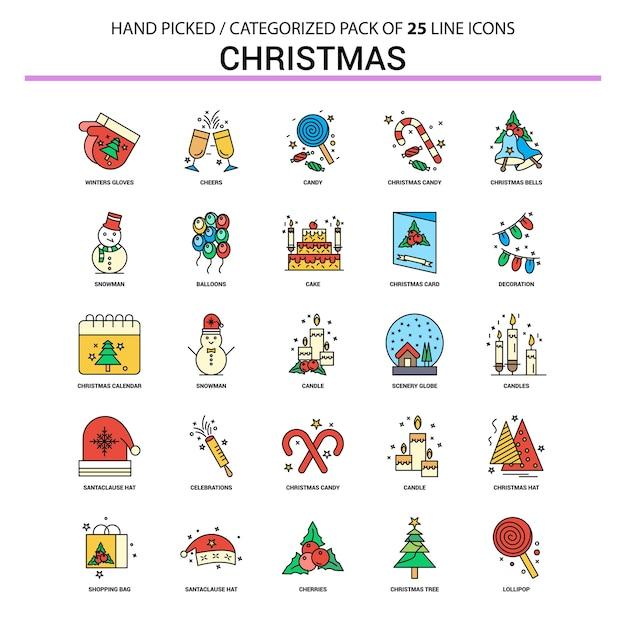 クリスマスフラットラインアイコンセット Premiumベクター