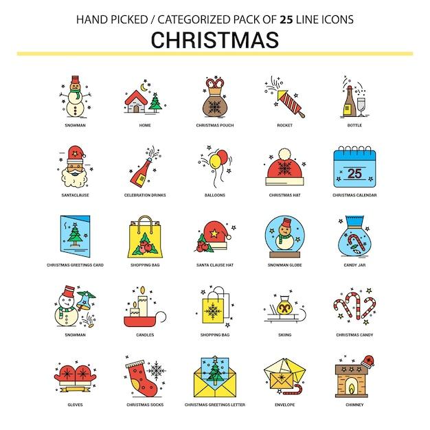 Набор значков на рождество Premium векторы