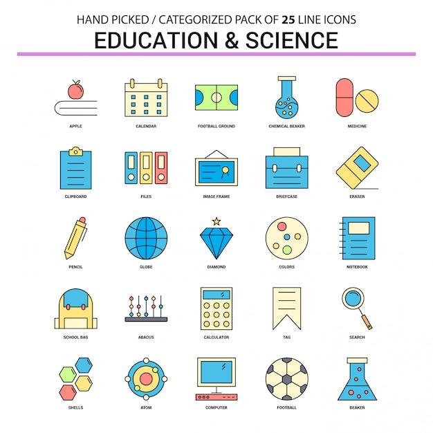 教育と科学のフラットラインアイコンセット 無料ベクター