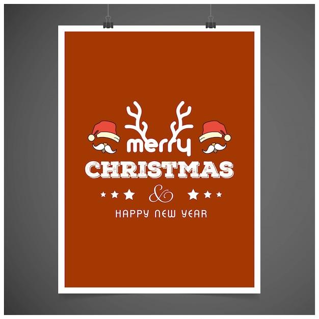 Дизайн рождественской открытки с элегантным дизайном Бесплатные векторы