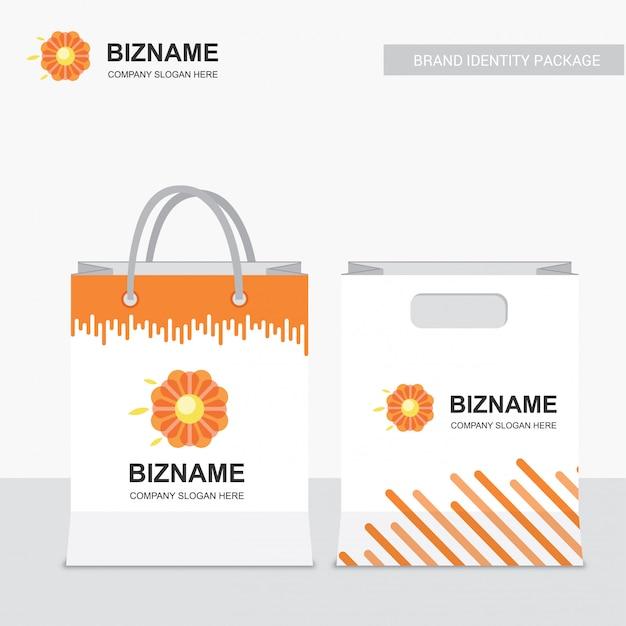 会社のショッピングバッグデザインベクトル Premiumベクター
