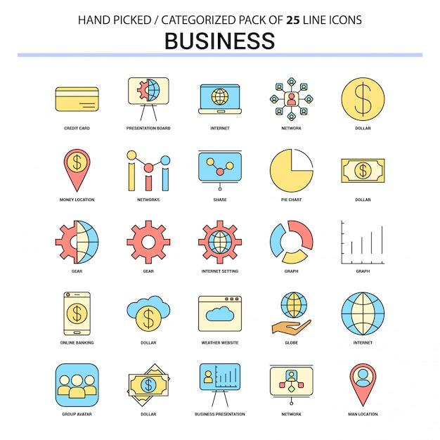 ビジネスフラットラインアイコンセット Premiumベクター