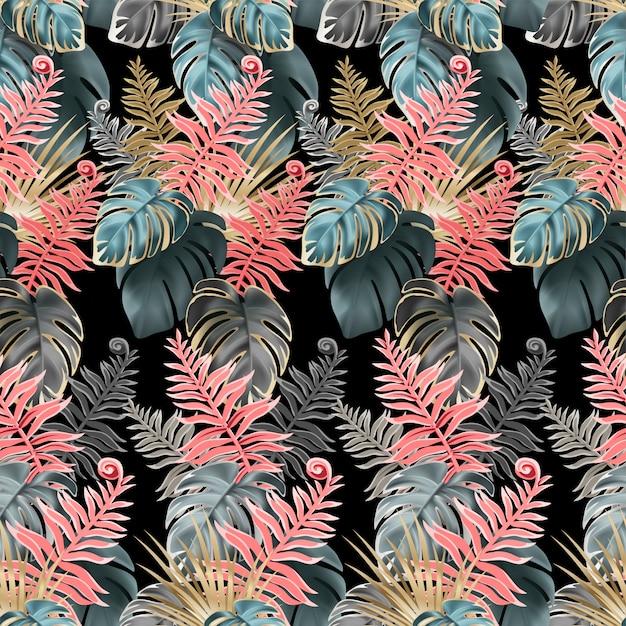 サンゴと暗い葉のシームレスなパターン。 Premiumベクター