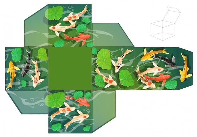 Коробка подарка. карпы кои рыба под водой. Premium векторы