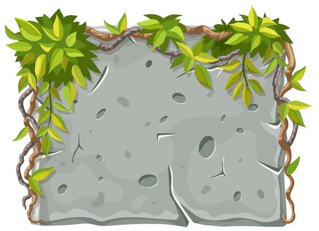 Каменная доска с лианы ветвями и листьями. Premium векторы