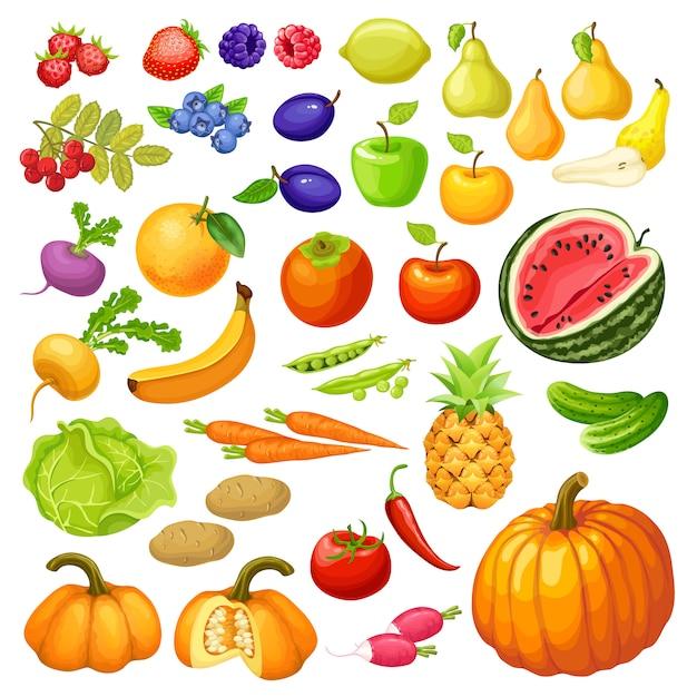 Овощи и фрукты. Premium векторы
