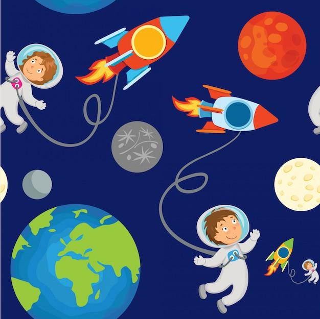 Дети бесшовные модели космонавта в космическом пространстве. Premium векторы