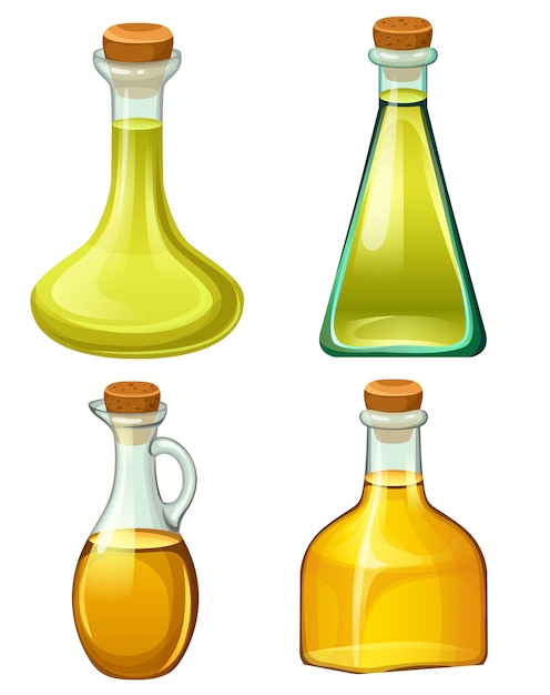 Набор бутылок с растительными маслами. Premium векторы