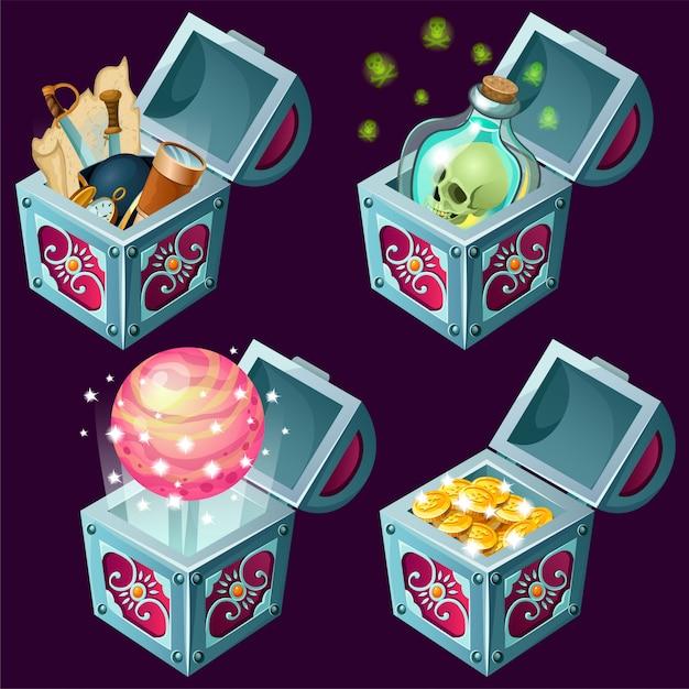Мультфильм изометрические сундуки с сокровищами. Premium векторы