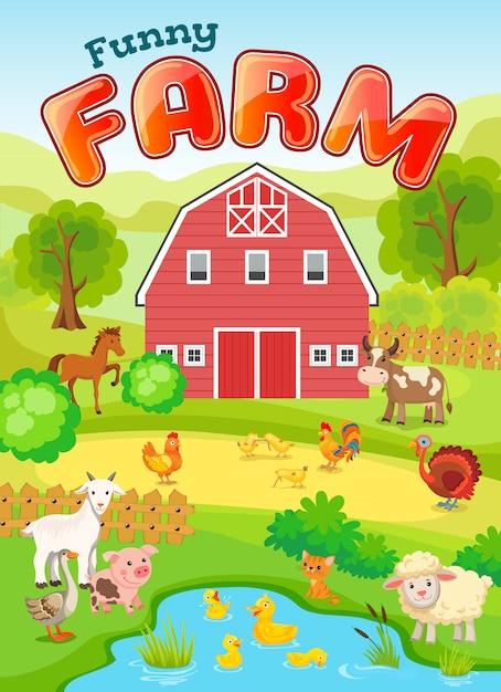 Иллюстрация фермы фермы с животными. Premium векторы