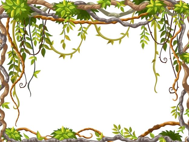Рамка из лианы ветвей и тропических листьев. Premium векторы