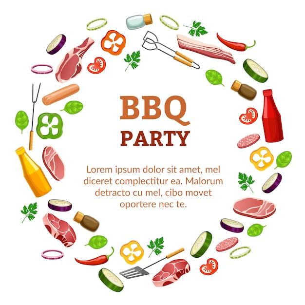 Шаблон вечеринки с барбекю. Premium векторы