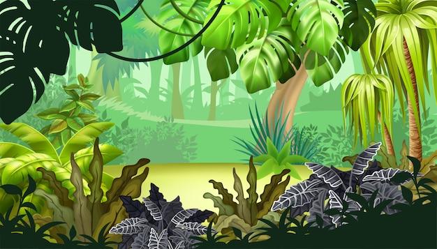 Игровой пейзаж с тропическими растениями. Бесплатные векторы