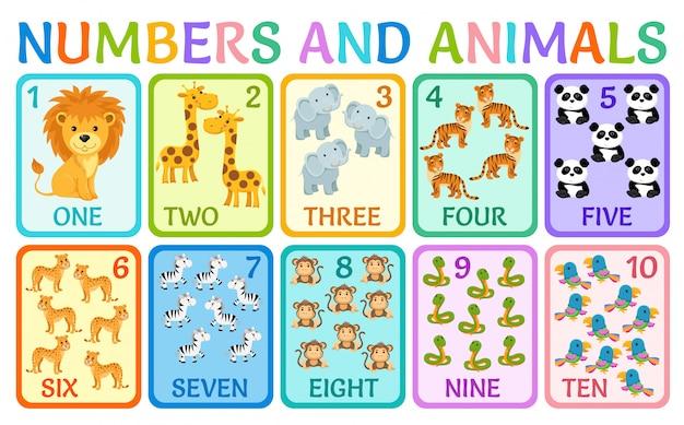 Животные джунглей. карточки номера для детей. Premium векторы