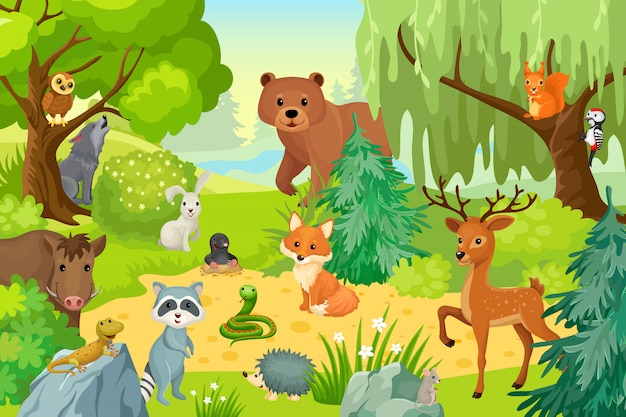 森の上の野生動物。 Premiumベクター