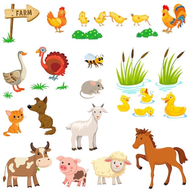 Набор сельскохозяйственных животных. Premium векторы