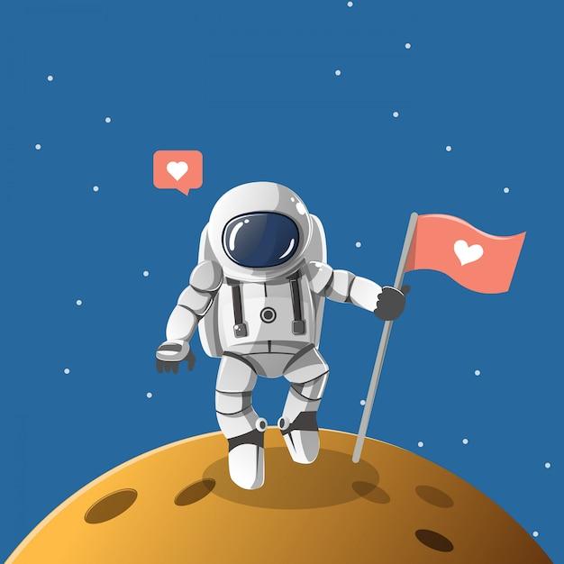 愛の惑星の宇宙飛行士少年。 Premiumベクター
