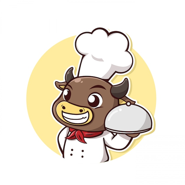 キャラクター牛がシェフのドレスとステーキホルダーを取ります Premiumベクター