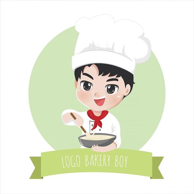 Логотип шеф-повара маленького мальчика-пекарни - это счастливая, вкусная сладкая улыбка и выпечка Premium векторы