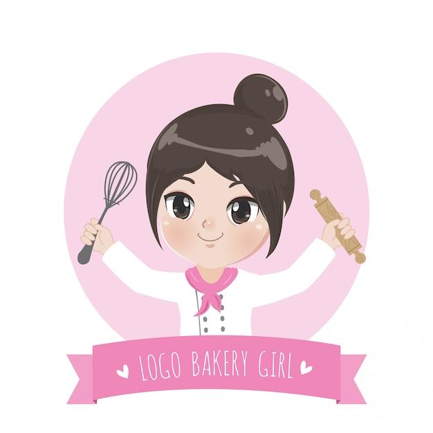 小さなパン屋さんのシェフのロゴは、幸せで、おいしい、甘い笑顔です。 Premiumベクター
