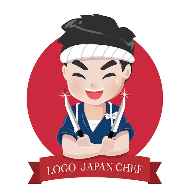 小さな日本の少年シェフのロゴは、幸せで、おいしい、自信を持って笑顔です。 Premiumベクター