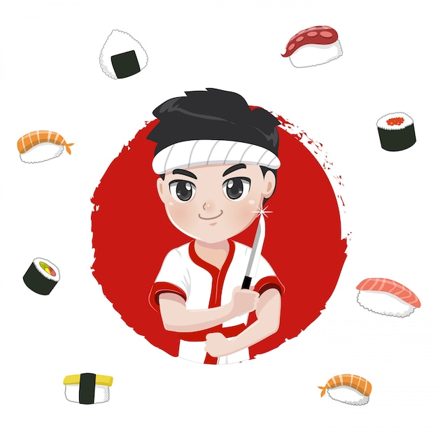 Характер суши-повара для японских ресторанов, Premium векторы