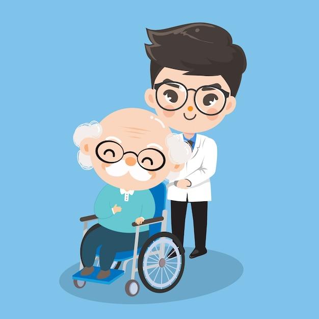 少年医師は老人患者の車椅子の世話をしています。 Premiumベクター
