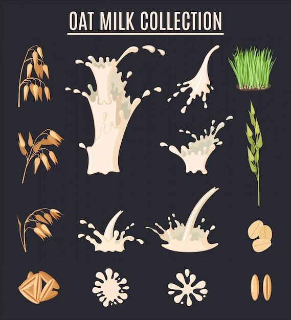 Сбор овсяного молока. органическая вегетарианская еда. набор здорового образа жизни. Premium векторы