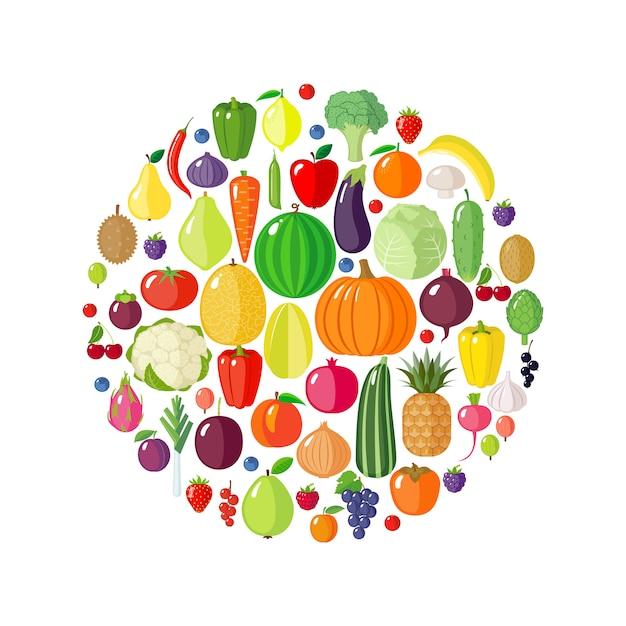 果物、野菜、ベリーの円形。 Premiumベクター