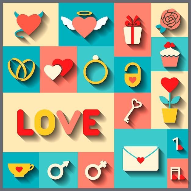 Плоские иконки для свадьбы или дня святого валентина Premium векторы