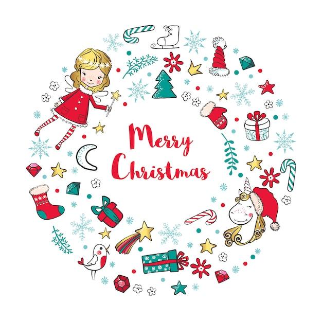 Рождественский венок с элементами феи, единорога и традиционного зимнего отдыха. Premium векторы