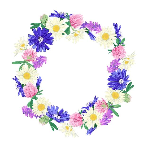 Полевые цветы венок на белом Premium векторы