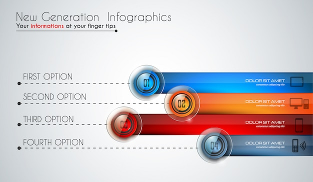データと情報を分類するインフォグラフィックの最新テンプレート Premiumベクター