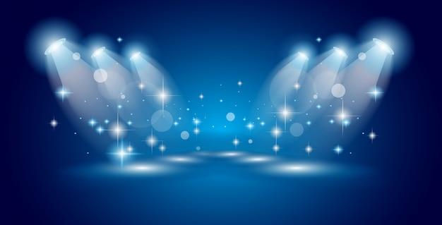 ライトと星のあるシアターショースポットライト Premiumベクター