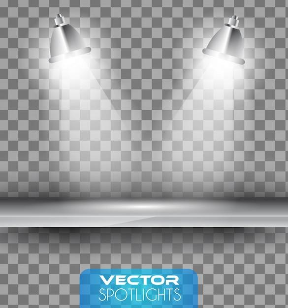 棚を指す光のハローを持つランプ Premiumベクター