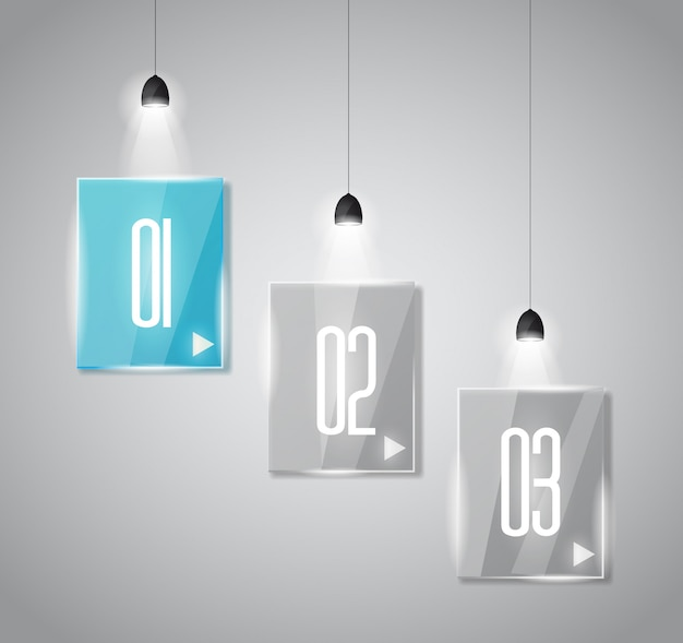 ガラス表面を持つインフォグラフィックデザインテンプレート Premiumベクター