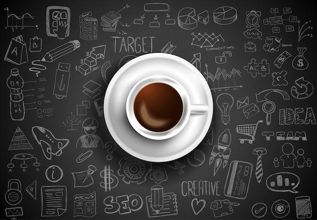 インフォグラフィックスケッチとテーブルの上のコーヒーのトップビュー Premiumベクター
