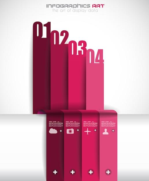 紙タグ付きインフォグラフィックテンプレート Premiumベクター