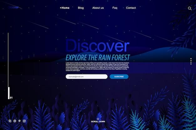 Дизайн шаблона сайта в концепции садовой фантазии Premium векторы