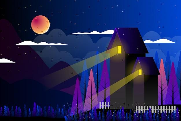 ファンタジー夜空風景イラストと田舎 Premiumベクター