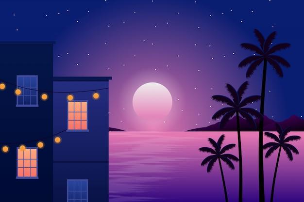 風景の建物と空の夜と海とココナッツの木のシルエット Premiumベクター