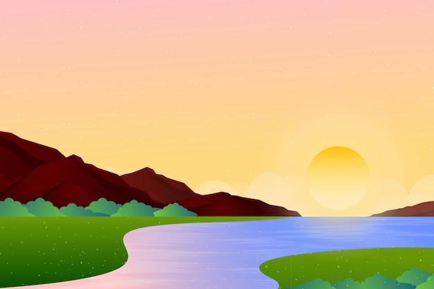 夕方の空と海の風景の背景 Premiumベクター