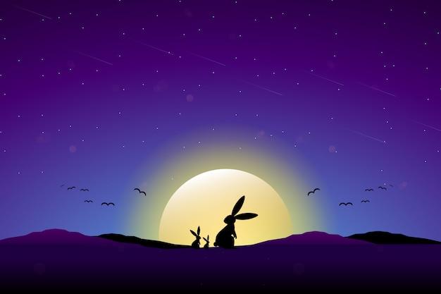 Кролик с полной луной звездное ночное небо Premium векторы