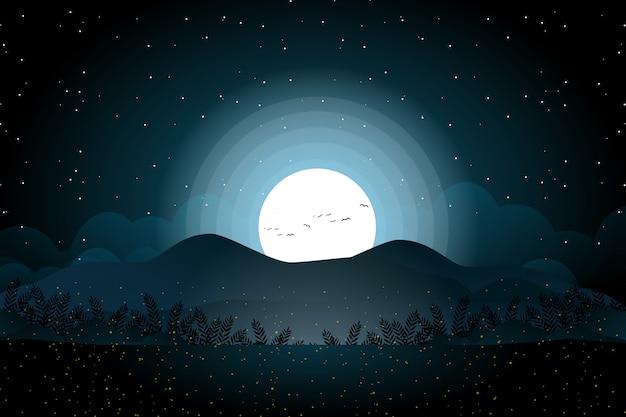 満月と夜の森と山の風景 Premiumベクター