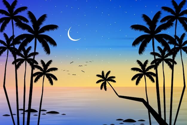 ココナッツの木のシルエットとスカイラインの風景 Premiumベクター