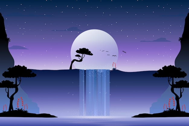 滝の風景と星空のイラスト Premiumベクター