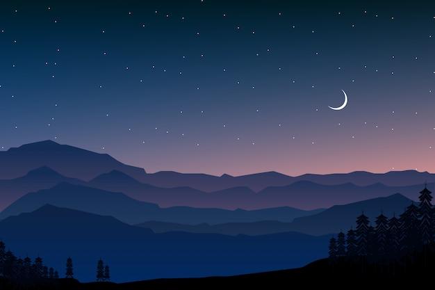 夜の森と山の風景イラスト Premiumベクター