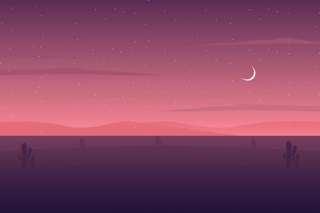 星空と砂漠の風景イラスト Premiumベクター