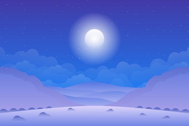 夜空の背景と山の風景 Premiumベクター