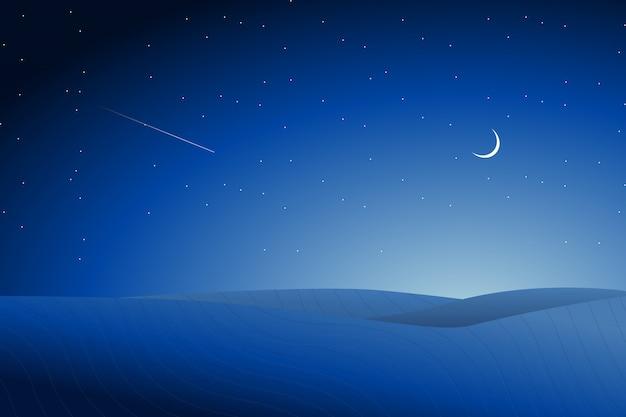 星空の夜背景と砂漠の風景イラスト Premiumベクター
